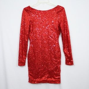 Casting LA Red Sequin Party Dress Size Small